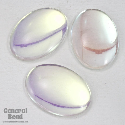 18mm x 25mm Crystal AB Unfoiled Oval Cabochon (2 Pcs) #3528-General Bead