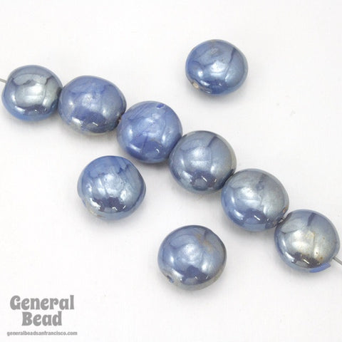 7mm x 12mm Light Blue Luster Glass Cushion Bead (12 Pcs) #3571-General Bead