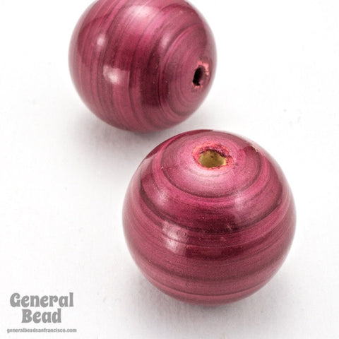 20mm Dark Rose Painted Wood Round Bead-General Bead