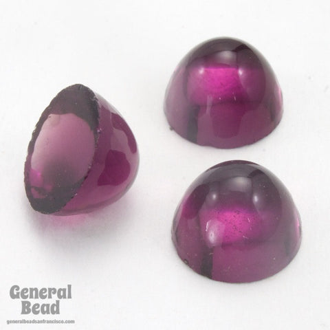 10mm Amethyst High Dome Round Glass Cabochon (2 Pcs) #3605