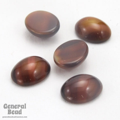 8mm x 10mm Coffee Brown Oval Glass Cabochon