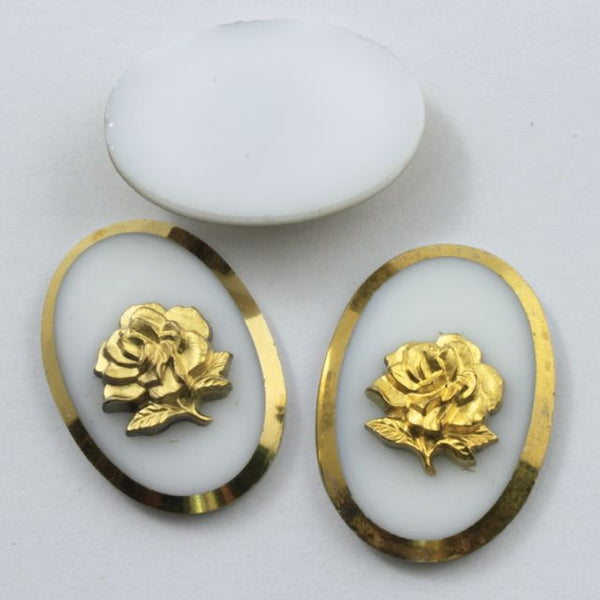 25mm Gold Rose White Cabochon