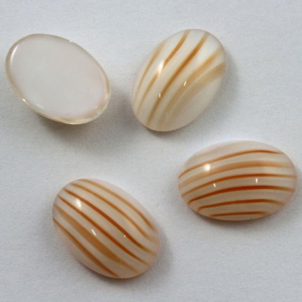 10mm x 14mm White Orange Stripe Oval Cabochon #XS18-D