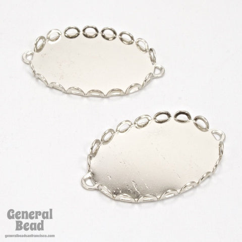 18mm x 25mm Silver Tone Lace Edge Cabochon Setting