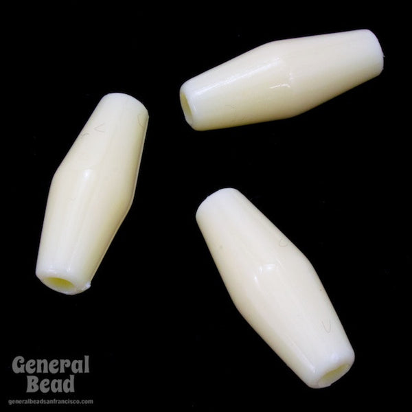 1 Inch Off White Lucite Hair Pipe (10 Pcs) #3719