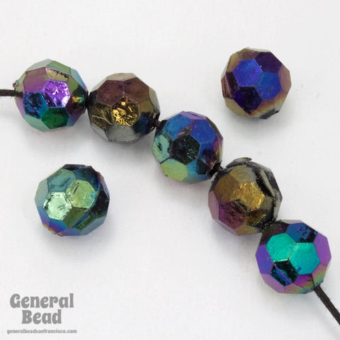 10mm Jet AB Faceted Round Bead