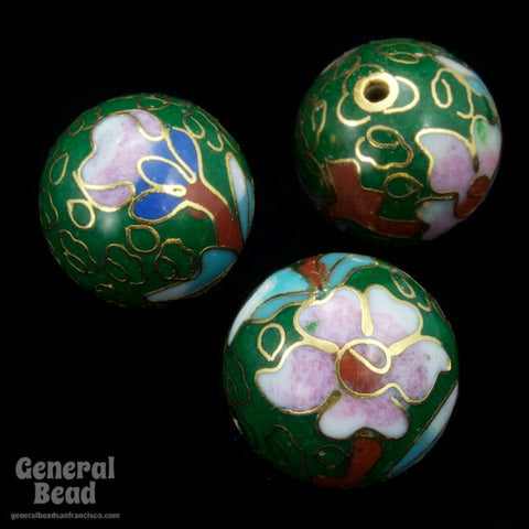 16mm Green Cloisonné Bead-General Bead