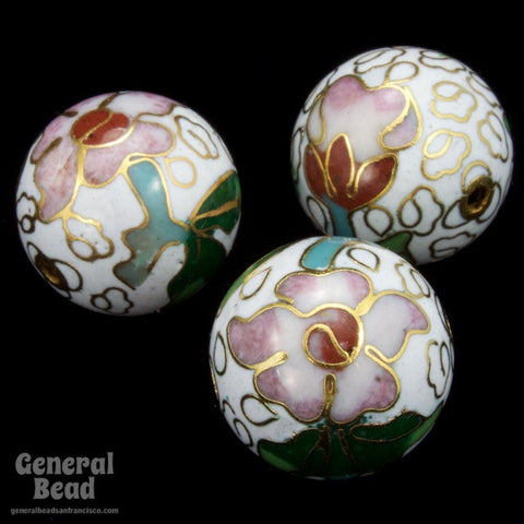 16mm White Cloisonné Bead-General Bead