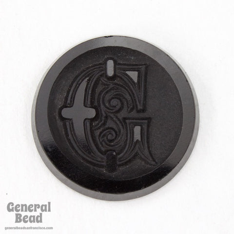 "20mm Black ""G"" Vintage Glass Initial Cabochon"