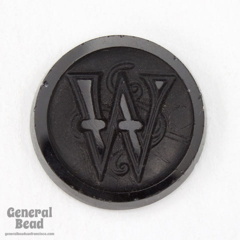 "20mm Black ""W"" Vintage Glass Initial Cabochon"