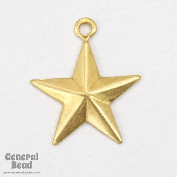 13mm Raw Brass Five Point Raised Star Charm