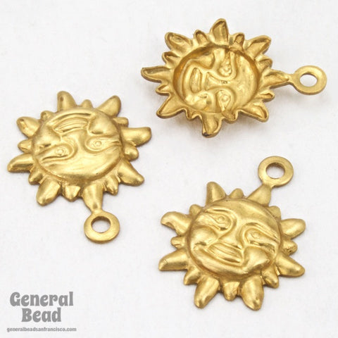 10mm Brass Sun Face Charm (12 Pcs) #3754-General Bead