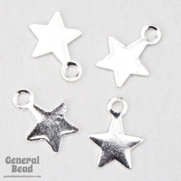 6mm Silver Tone Star Charm (24 Pcs) #3757