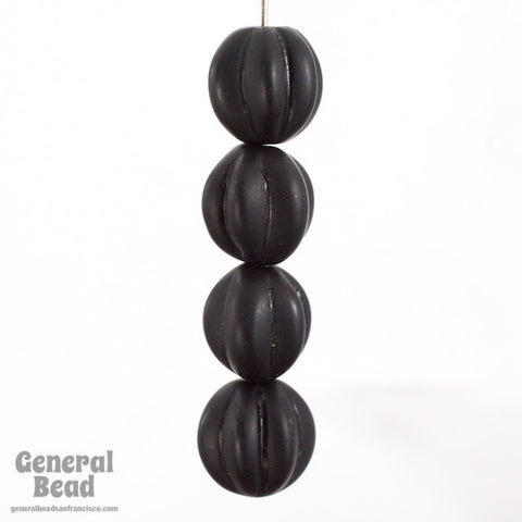 10mm Black Grooved Melon Bead