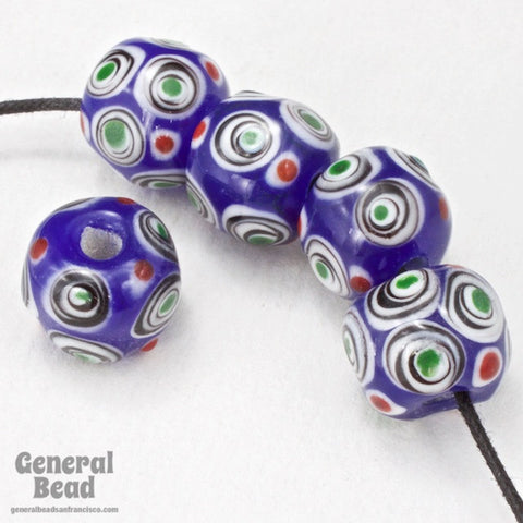12mm Blue with White and Green Circles Lampwork Bead (2 Pcs) #3788