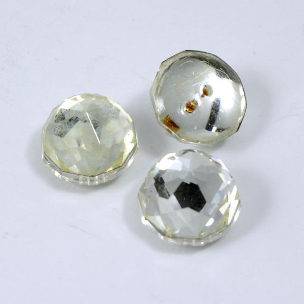 13mm Round Clear Faceted Cabochon