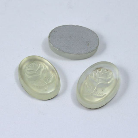 10mm x 14mm Frosted Rose Oval Cabochon #XS23-C-General Bead