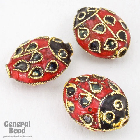 12mm x 15mm Red and Black Cloisonné Ladybug Bead (2 Pcs) #3834