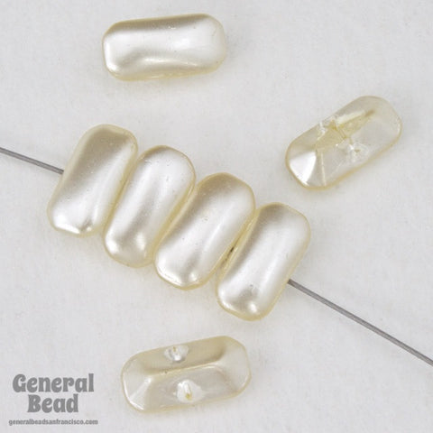 3mm x 6mm Off White Imitation Pearl Baguette Sew-On-General Bead