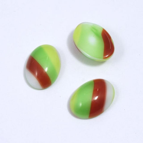 10mm x 14mm Green and Brown Stripe Oval Cabochon XS28-D-General Bead