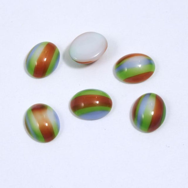 8mm x 10mm Green/Brown/Blue Stripe Oval Cabochon #XS29-A