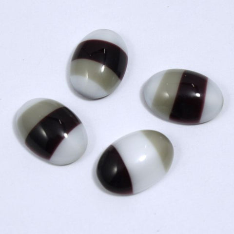 10mm x 14mm Brown/White/Grey Stripe Oval Cabochon #XS29-C-General Bead