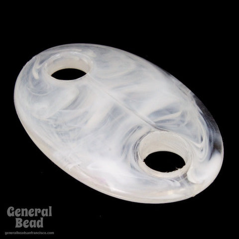 25mm x 40mm White Marbled Lucite Oval with 2 Holes (4 Pcs) #4023