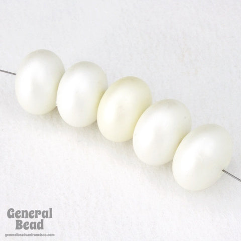 13mm Pearly White Fat Rondelle-General Bead