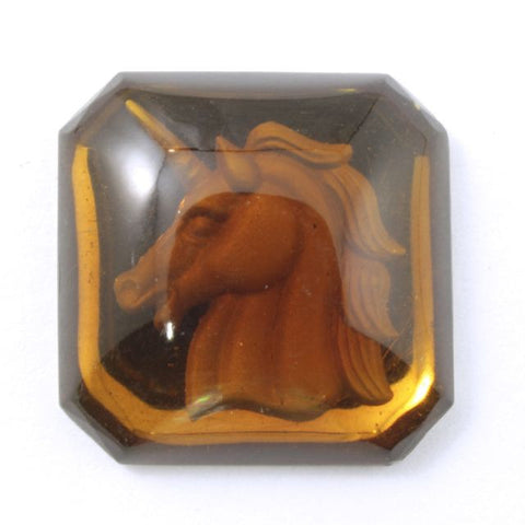 18mm Smoked Topaz Unicorn Cabochon #XS31-C-General Bead
