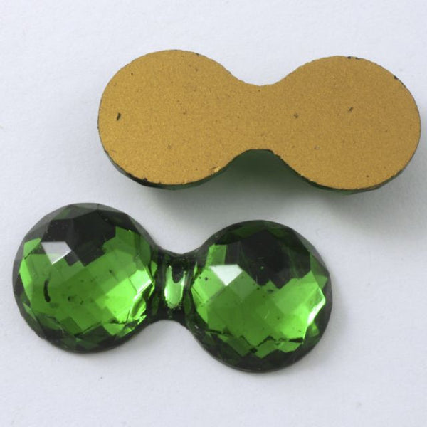 15mm x 30mm Double Bubble Faceted Emerald Cabochon #XS34