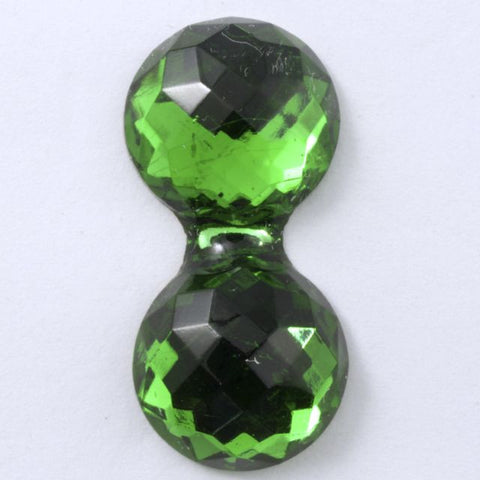 15mm x 30mm Double Bubble Faceted Emerald Cabochon #XS34-General Bead