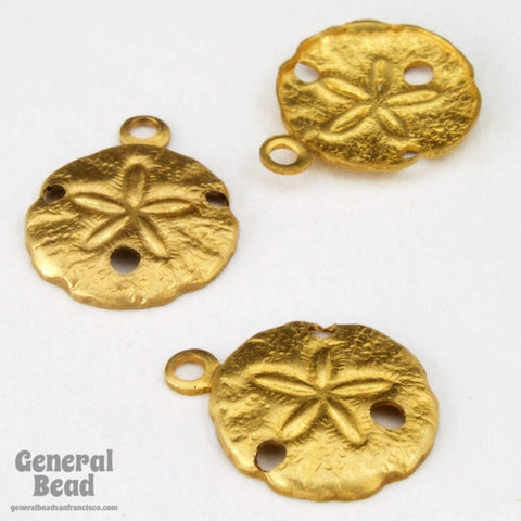 10mm Raw Brass Sand Dollar (12 Pcs) #4107-General Bead