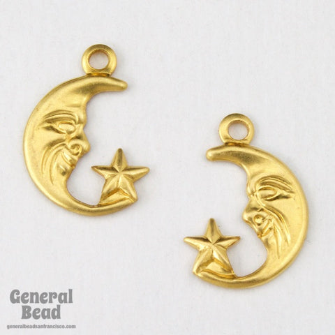 12mm Brass Crescent Moon and Star Pair(12 Pcs) #4108-General Bead