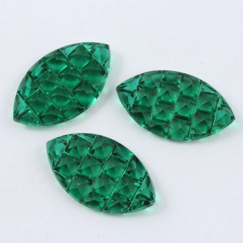 14mm x 24mm Emerald Textured Navette Cabochon #412-General Bead
