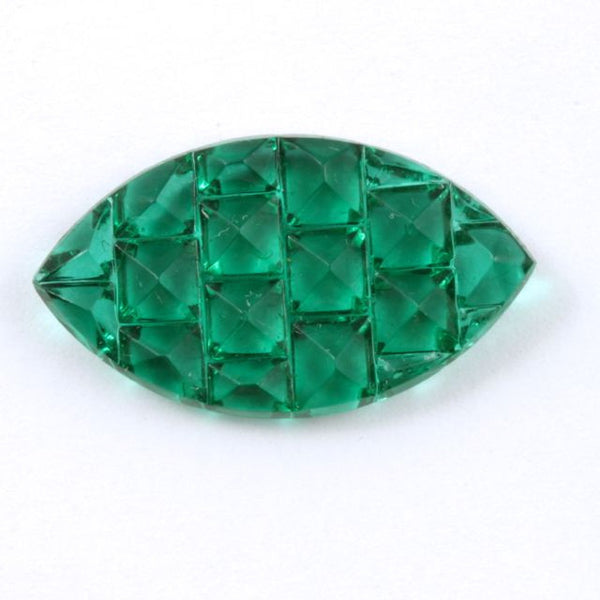 14mm x 24mm Emerald Textured Navette Cabochon #412