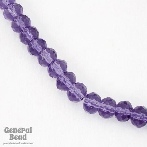 8mm Transparent Tanzanite Faceted Rondelle Strand