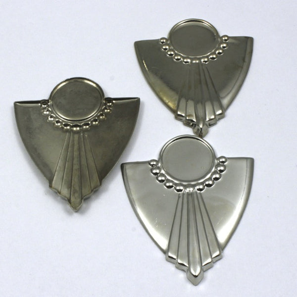 38mm Vintage Silver Art Deco Dotted Shield