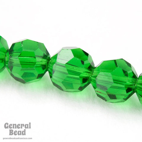 10mm Faceted Transparent Kelly Green Bead