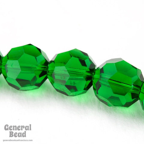 10mm Faceted Transparent Green Bead