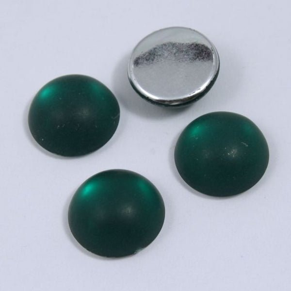 11mm Round Frosted Green Cabochon