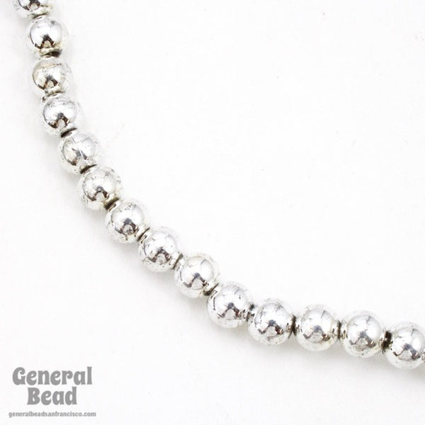 6mm Bright Silver Craft Pearl Strand