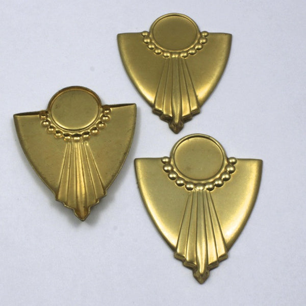 38mm Vintage Raw Brass Art Deco Dotted Shield
