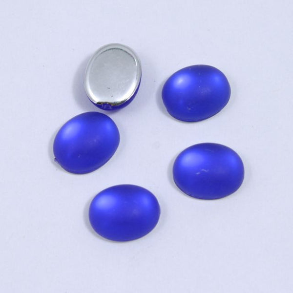 8mm x 10mm Oval Frosted Cobalt Cabochon (2 Pcs) #434
