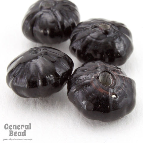 10mm Black Corrugated Glass Rondelle (50 Pcs) #4357-General Bead