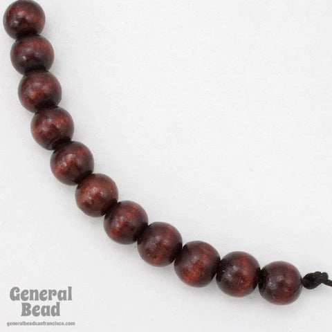 10mm Dark Brown Wood Bead