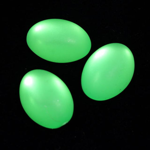13mm x 18mm Frosted Lime Green Oval (2 Pcs) #439