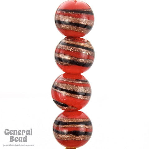 10mm Red/Black/Bronze Swirl Lampwork Bead (20 Pcs) #4511