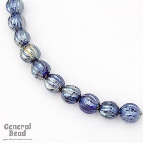 10mm Sapphire Luster Grooved Melon Bead (12 Pcs) #4519