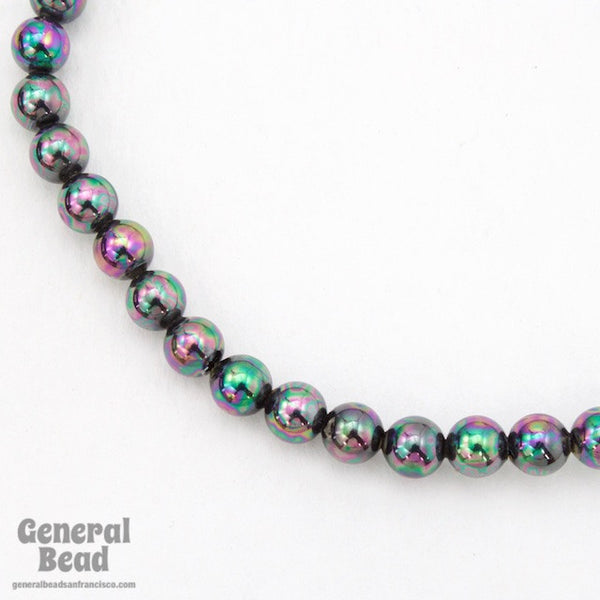 6mm Dark Grey Iris Bead Strand #4585