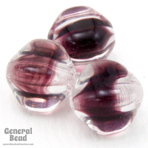 10mm Crystal/Amethyst Four Sided Bead (12 Pcs) #4689